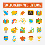 Set of 20 education icons for school, college, university. Flat fullcolored images Royalty Free Illustration