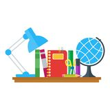 Set of education icons on table vector illustration