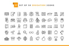 Set of 50 education icons, thin line style. Vector illustration stock illustration