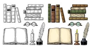 Set education. Inkwell with feather, pile books, glasses, candle. Set education. Inkwell with feather, pile of old books, glasses, candle. Isolated on white Royalty Free Stock Image