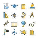Set of education and learning line icons. Flat Stock Images