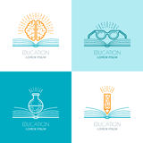 Set of  education logo, icons, emblems design elements. Royalty Free Stock Photo