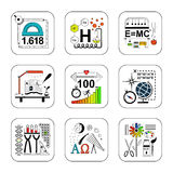 Set of education and science design concept icons. Set of education and science design concept icons on white background royalty free illustration