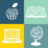Set of education symbols. Simply shapes apple, book, laptop and globe with learning icons Stock Photography