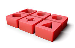Set of educational blocks   on white background. 3d rend Royalty Free Stock Photos
