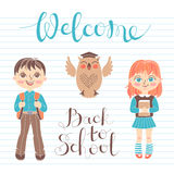 Set educational elements of design. Students girl and boy. Owl. Lettering Welcome Back to School. Royalty Free Stock Image