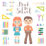 Set educational elements of design. Students girl and boy. Stationery. Lettering Back to School. Set of educational elements of school design. Students girl and Royalty Free Stock Image