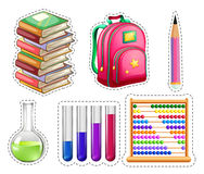 Set of educational equipments. Illustration Royalty Free Stock Photo