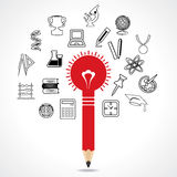 Set of educational icon around pencil bulb. Vector illustration Stock Images
