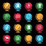 Set of educational icons on globe design Royalty Free Stock Image