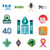 Set of educational institute, breast cancer ribbon, rhino, , medical marijuana, handicapped, 40 years, canadian leaf, camper icons. Set Of 13 simple  icons such Stock Photography