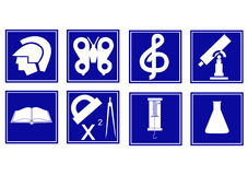 Set of educational symbols. Character set of various educational disciplines for school Stock Photography