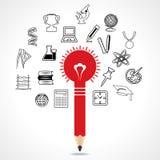 Set edukacyjna ikona wokoło ołówkowej żarówki Obrazy Stock