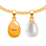 Set of egg form pendants on golden chain. Royalty Free Stock Photography