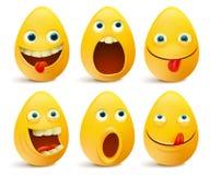 Set of egg shaped emoticons. Easter set. Vector illustration Stock Photography