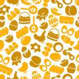Set of egg theme yellow icons seamless pattern Royalty Free Stock Photos