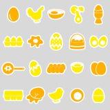 Set of egg theme yellow stickers Royalty Free Stock Photo