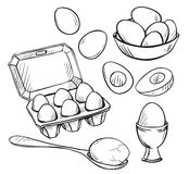 Set of eggs drawings Royalty Free Stock Photo