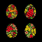 Set of eggs is painted with a flower pattern. Russian national s Royalty Free Stock Image