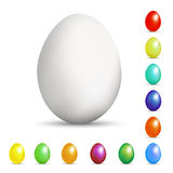 Set of eggs in a realistic style with a shadow of different colors for Easter and other holidays. As well for prettification stock illustration