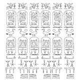 Set of Egyptian symbols, black and white sketch Royalty Free Stock Photo