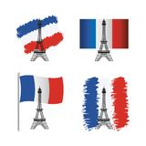 Set of eiffel tower with france flag stock illustration