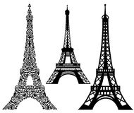Set of Eiffel Tower. Royalty Free Stock Images