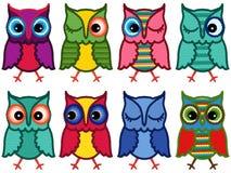 Set of eight amusing motley owls. Set of eight motley amusing owls with circle elements over white background, cartoon vector illustration stock illustration