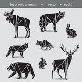 A set of eight animals. Wild animals in the flat Graphics. Black Royalty Free Stock Photography