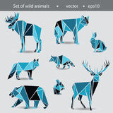 A set of eight animals. Wild animals in the flat Graphics. Illus Stock Image