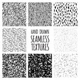 Set of eight black and white seamless hand drawn textures Royalty Free Stock Photography