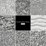 Set of eight black and white wave patterns (seamlessly tiling).S Stock Image