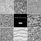 Set of eight black and white wave patterns (seamlessly tiling).S Royalty Free Stock Photo