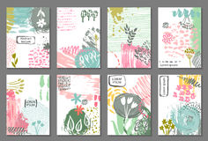 Set of eight cards with hand drawn abstract ink texture and floral nature motif. Templates for flyers, invitations, banners with text frames. Colorful vector Royalty Free Stock Photos