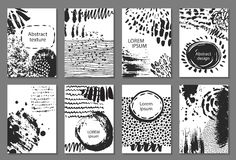 Set of eight cards with hand drawn abstract ink texture. Royalty Free Stock Image