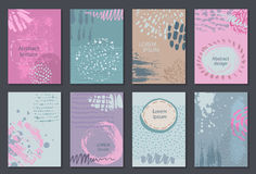 Set of eight cards with hand drawn abstract ink texture. Stock Photos