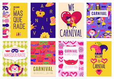 Set Of Eight Carnival Posters. Set of eight  isolated carnival advertising posters with invitation to costume parties flat vector illustration Stock Photos