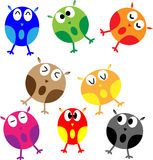 Set of eight cartoon owls Royalty Free Stock Photography