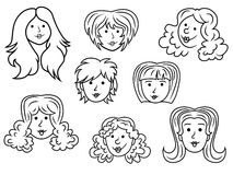 Set of eight cartoon women contour faces Stock Photography