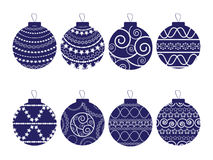 Set of eight Christmas balls Stock Photos