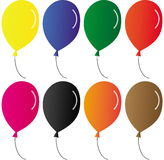 Balloons. Set of eight colored balloons Stock Image