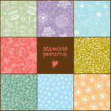 Set of eight colorful floral patterns Royalty Free Stock Photos
