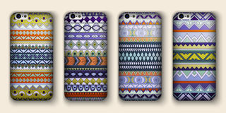 Set of eight covers for your mobile phone. Vector decorative ethnic backgrounds. Stock Image
