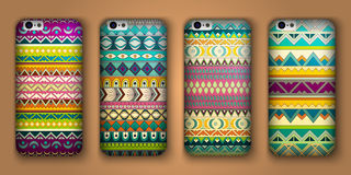 Set of eight covers for your mobile phone. Vector decorative ethnic backgrounds. Royalty Free Stock Image