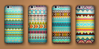 Set of eight covers for your mobile phone. Vector decorative ethnic backgrounds. Royalty Free Stock Images