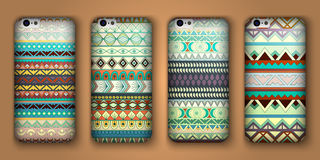 Set of eight covers for your mobile phone. Vector decorative ethnic backgrounds. Royalty Free Stock Photo
