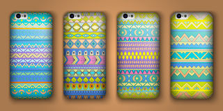 Set of eight covers for your mobile phone. Vector decorative ethnic backgrounds. Stock Photo