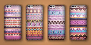 Set of eight covers for your mobile phone. Vector decorative ethnic backgrounds. Stock Images