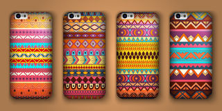 Set of eight covers for your mobile phone. Vector decorative ethnic backgrounds. Royalty Free Stock Photography