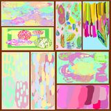 A set of eight creative universal abstract greeting cards in green and blue and yellow and pink and brown tones. Stock Images